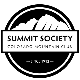 Black and White Summit Society Logo - circle with mountains