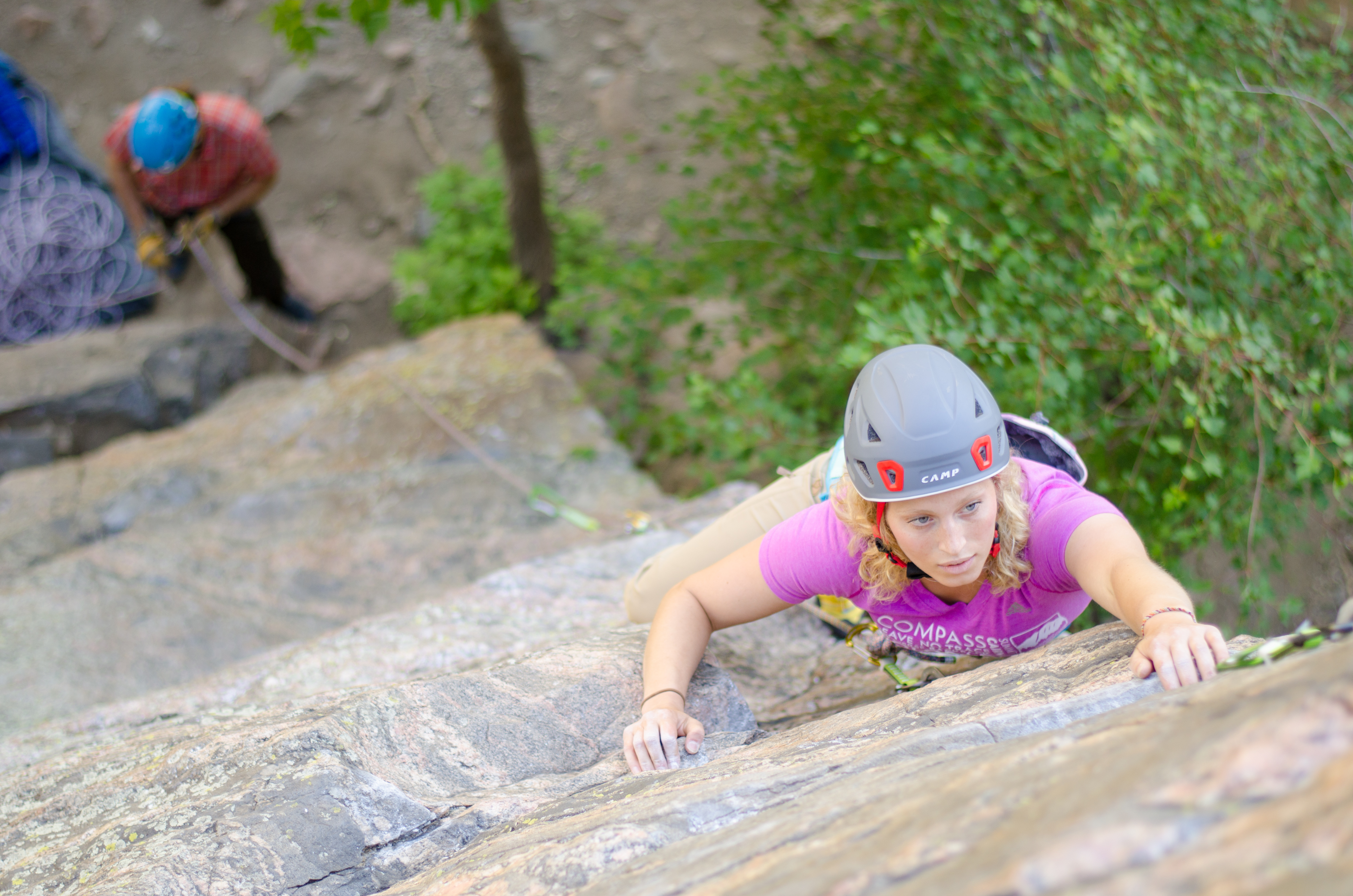 Girl Climbing with Camp Helmet