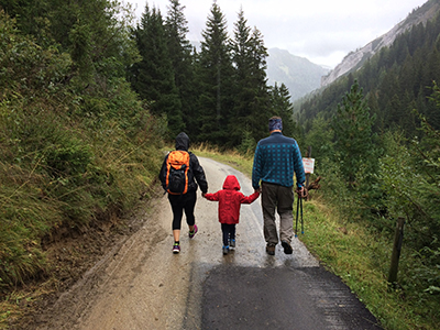 Family Hiking in the mountains